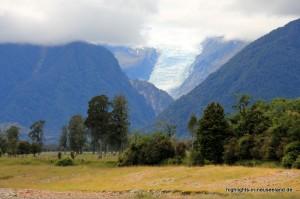 Fox Glacier aus der Ferne