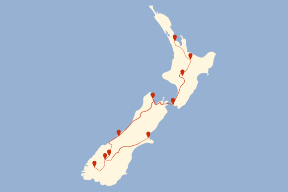Route 3 Wochen Neuseeland