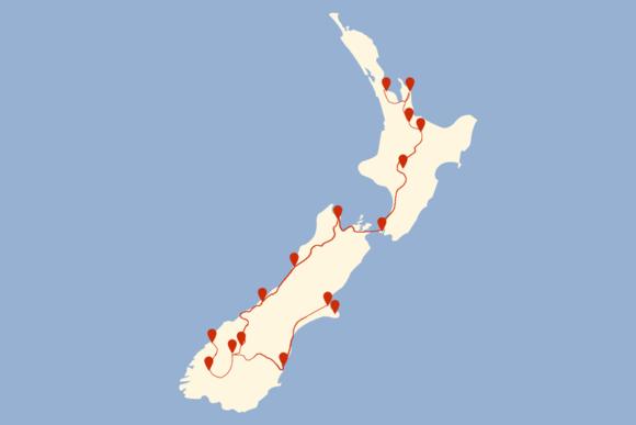 Route 4 Wochen Neuseeland