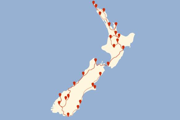 Route 6 Wochen Neuseeland